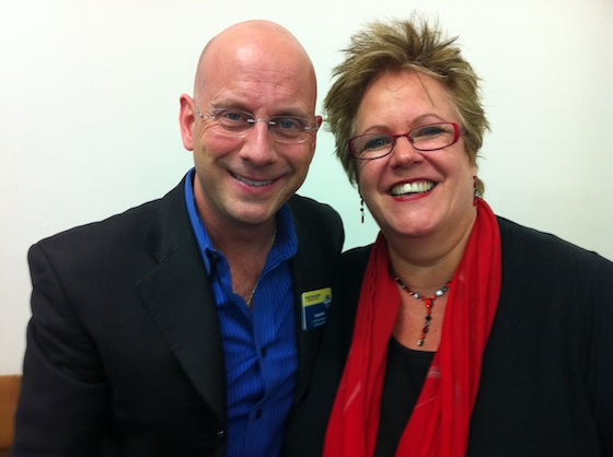 Linda with Darren LaCroix, a world class speaker in the USA